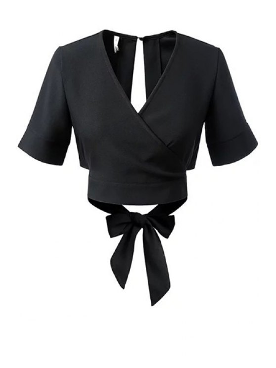 women's Black Bowknot Self Tie V Neck Short Sleeve Blouse - BLACK S