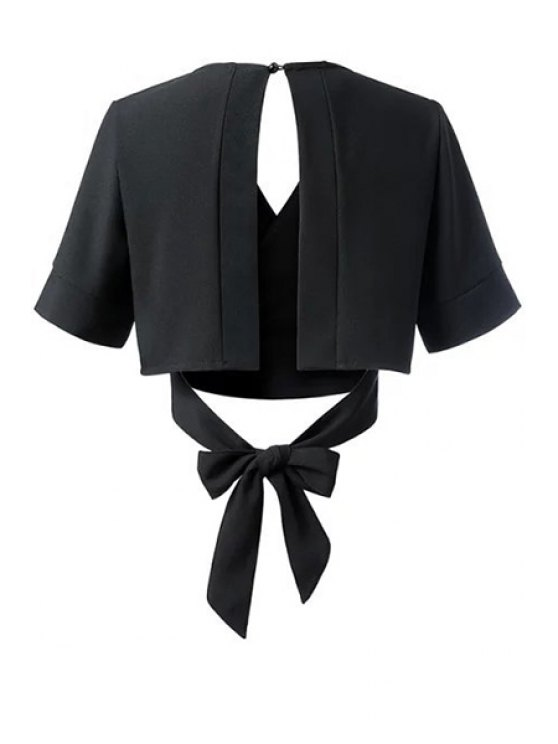 Black Bowknot Self Tie V Neck Short Sleeve Blouse - BLACK S Mobile