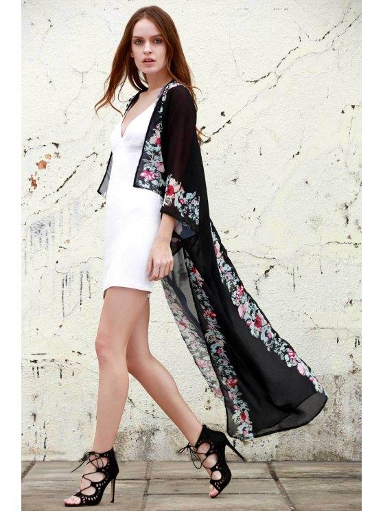 trendy Floral Chiffon Maxi Kimono - BLACK ONE SIZE