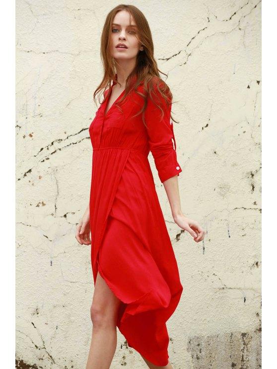 High Slit V Neck Long Sleeve Dress - WATERMELON RED XL Mobile