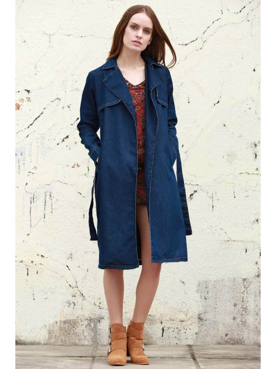 Denim Lapel Trench Coat - Marina de Guerra S