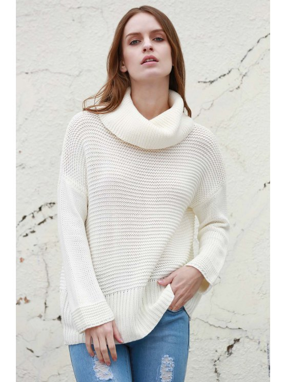 chic Split Turtleneck Pullover Sweater - WHITE M