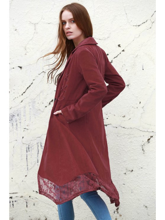 outfit Lace Spliced Lapel Long Sleeve Coat - WINE RED S