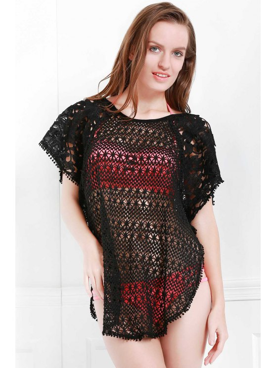 Hollow Out Scoop Neck Cover-Up - BLACK L Mobile