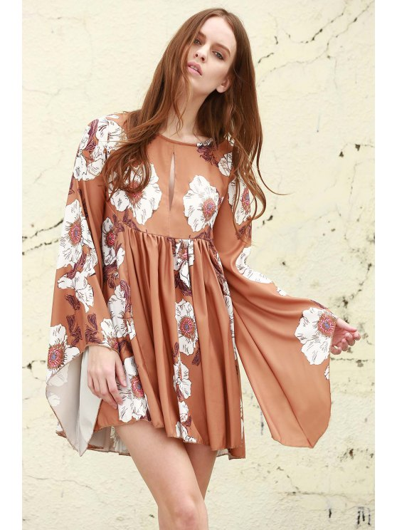 outfits Floral Keyhole Neckline Long Sleeves Dress - EARTHY S