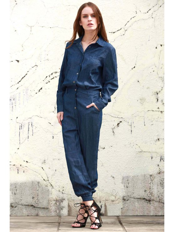Denim Turn Down Collar Long Sleeve Jumpsuit -   Mobile