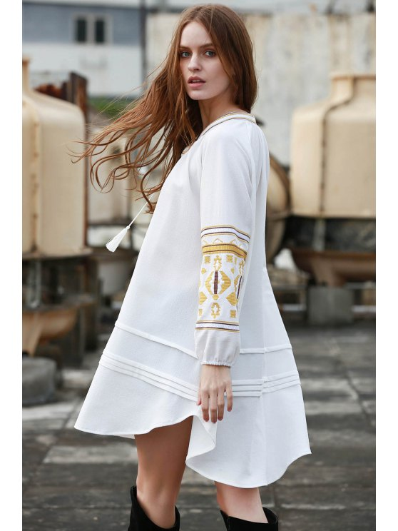 Embroidery Stand Neck Long Sleeve Dress - OFF-WHITE S Mobile