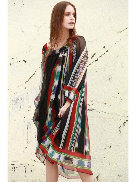 Print Chiffon Long Sleeves Tunic Dress - BLACK S Mobile