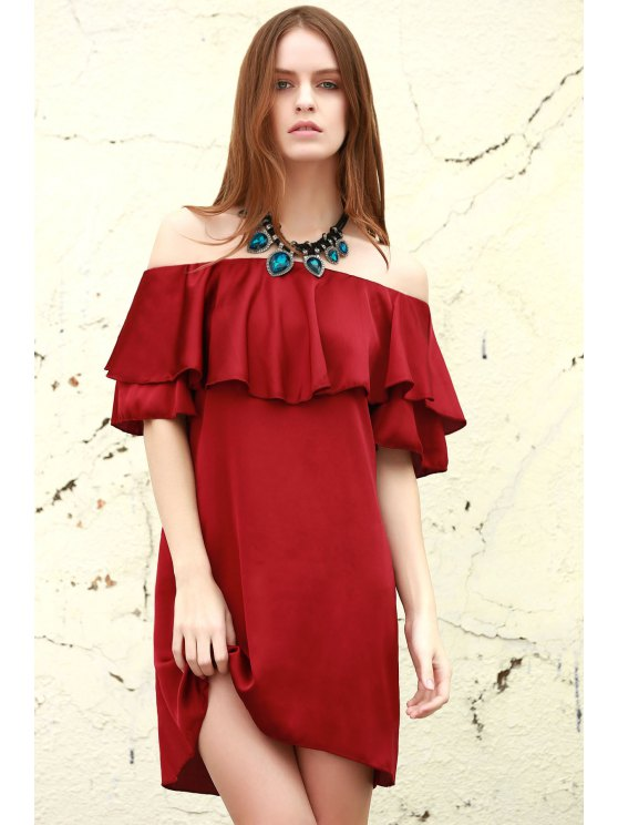 lady Red Off The Shoulder Ruffles Dress - RED S