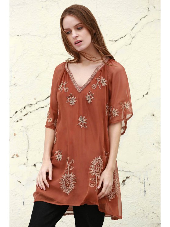 Embroidered Plunging Neck Half Sleeve Dress - BROWN S Mobile