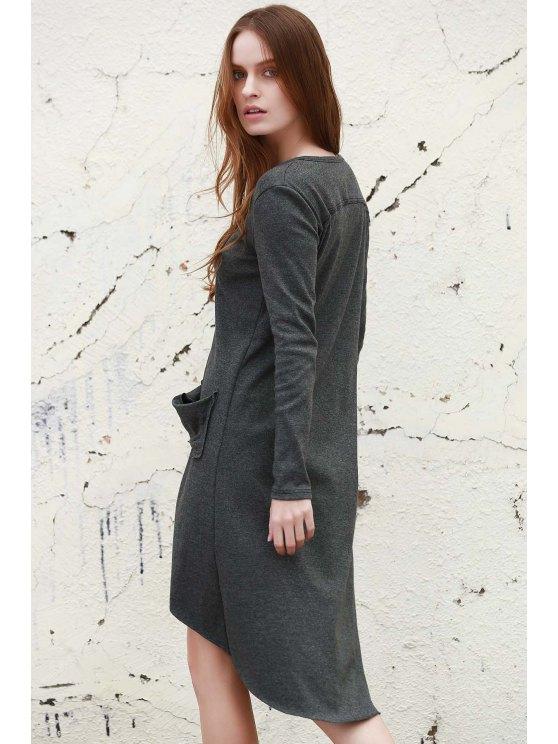Gray V Neck Long Sleeve Cardigan - GRAY L Mobile
