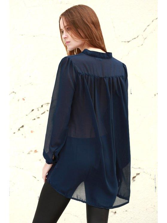 See-Through Plunging Neck Long Sleeve Blouse - PURPLISH BLUE L Mobile