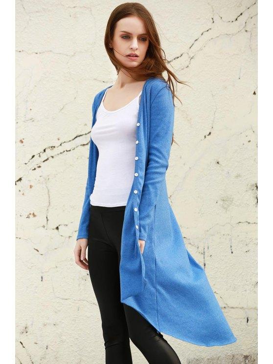 Bleu col V à manches longues Cardigan - Bleu M