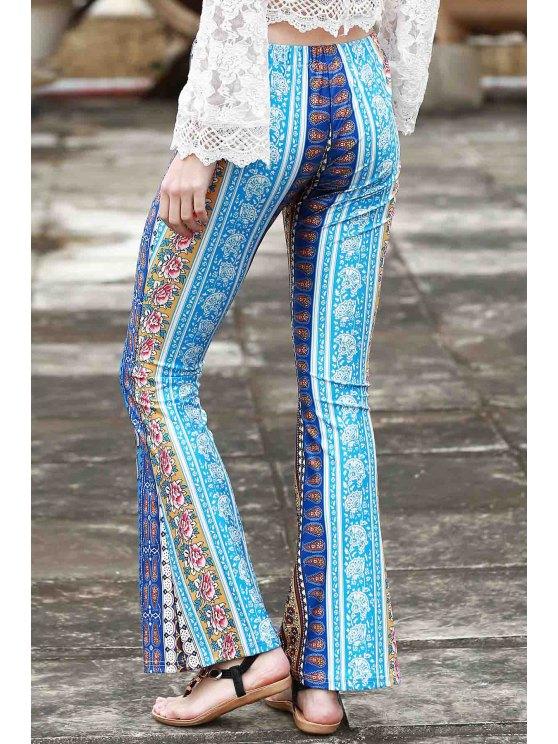 Border Print Bell Pants - BLUE XL Mobile