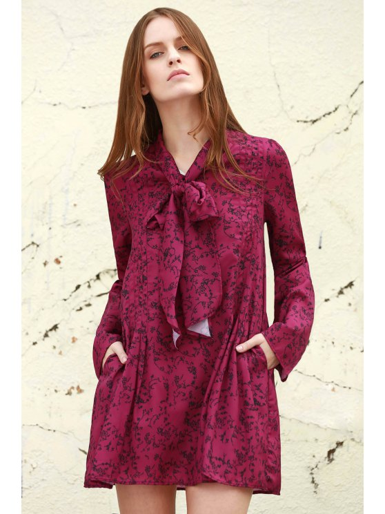 shops Long Sleeves Tiny Floral Print Dress - PURPLE S