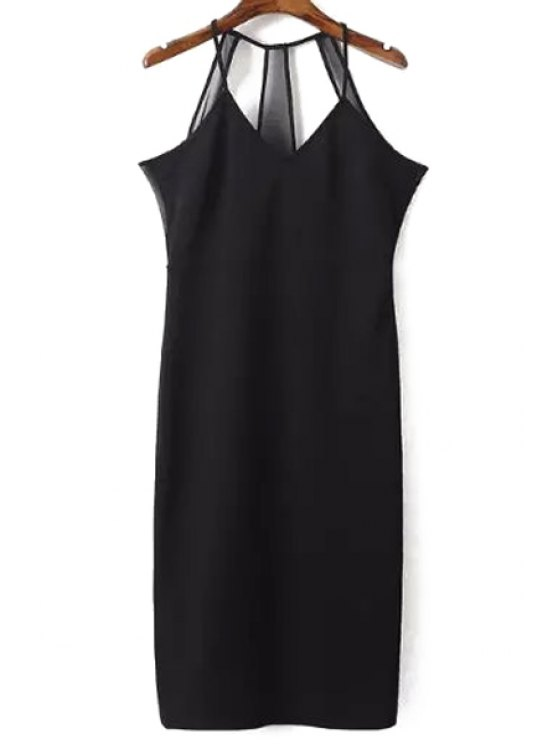 Sin mangas de color sólido Vestido tubo - Negro L