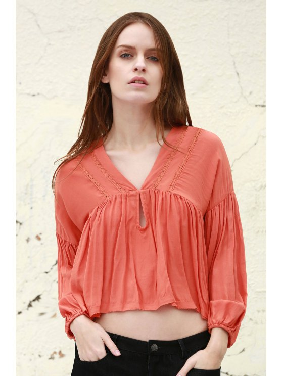 trendy Solid Color V Neck Long Puff Sleeve Blouse - JACINTH S