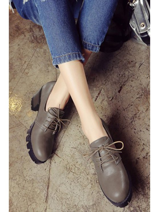 Lace-Up Platform Chunky Heel Pumps - GRAY 37 Mobile