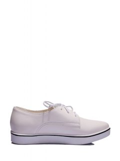 Star Lace-Up Solid Color Flat Shoes - Off-white 38