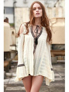 Cut-Out Plunging Neck Long Sleeve Dress - Beige S