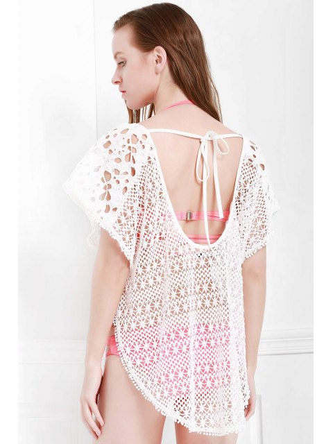 sale Hollow Out Slit Cover-Up - WHITE S Mobile