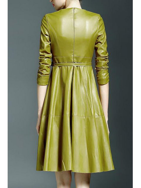 chic Vestido PU Leather Round Collar Waisted Dress - YELLOW S Mobile