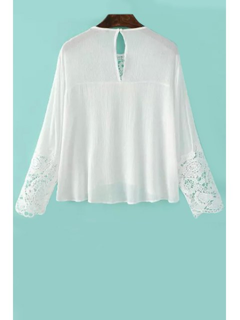 outfits Lace Splicing Round Neck Long Sleeve Blouse - WHITE L Mobile