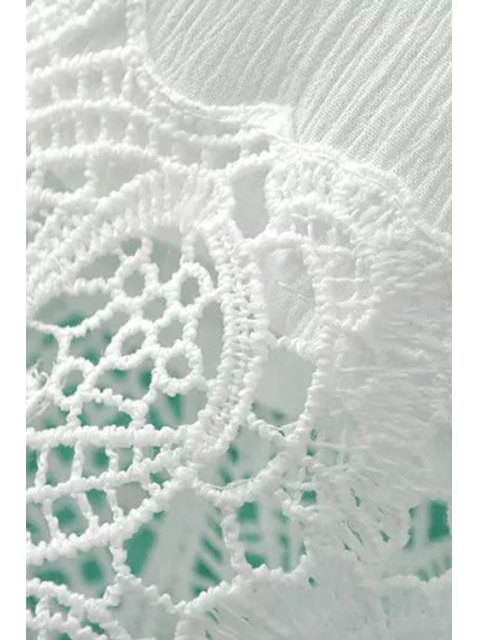 Splicing dentelle col rond manches longues Blouse - Blanc L Mobile
