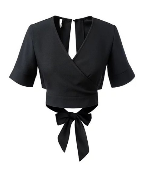 women's Black Bowknot Self Tie V Neck Short Sleeve Blouse - BLACK S Mobile
