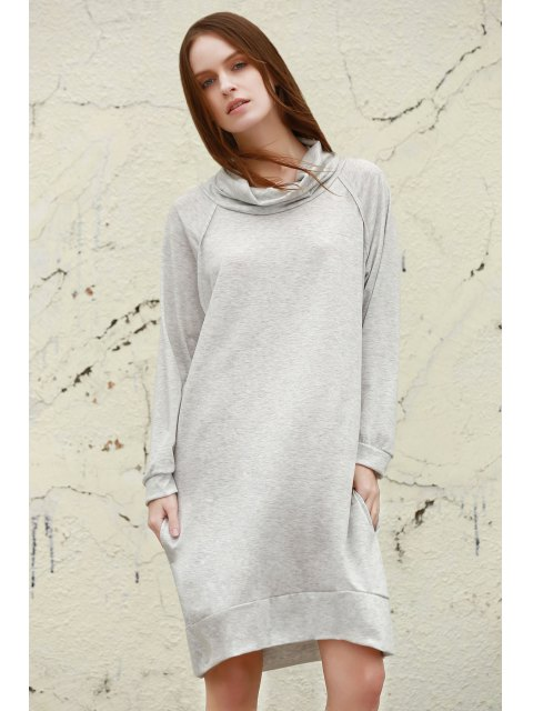 chic Heaps Collar Loose Dress - GRAY S Mobile