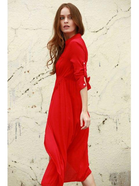affordable High Slit V Neck Long Sleeve Dress - WATERMELON RED XL Mobile
