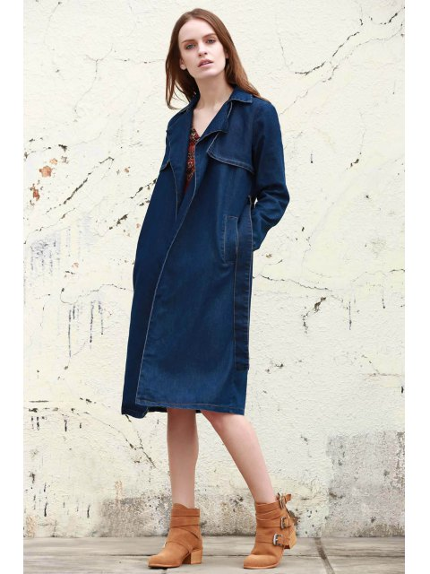hot Denim Lapel Trench Coat - DEEP BLUE S Mobile