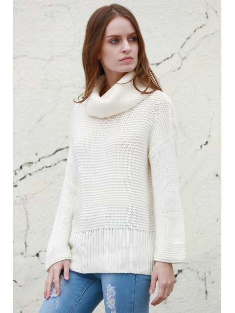 chic Split Turtleneck Pullover Sweater - WHITE M Mobile