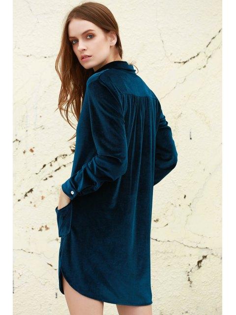 womens Loose Velvet Shirt Dress - CADETBLUE L Mobile