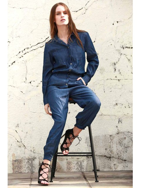 trendy Denim Turn Down Collar Long Sleeve Jumpsuit - BLUE M Mobile
