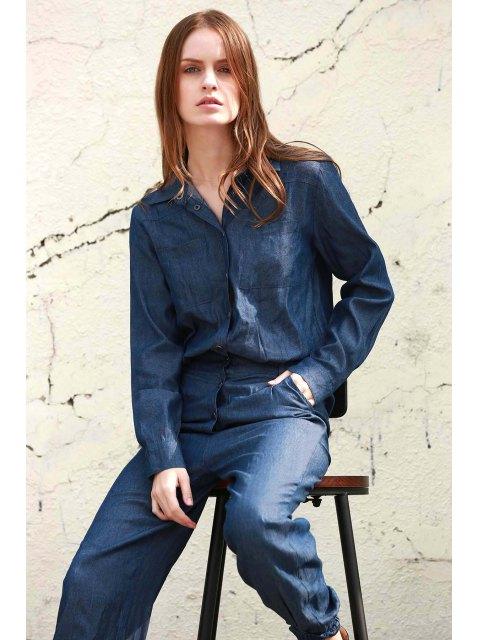 fashion Denim Turn Down Collar Long Sleeve Jumpsuit -   Mobile