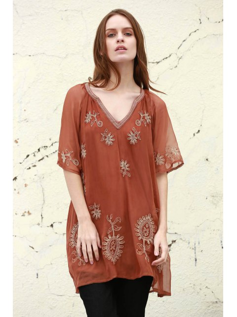 fashion Embroidered Plunging Neck Half Sleeve Dress -   Mobile