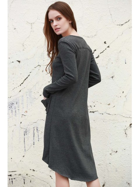 new Gray V Neck Long Sleeve Cardigan - GRAY S Mobile