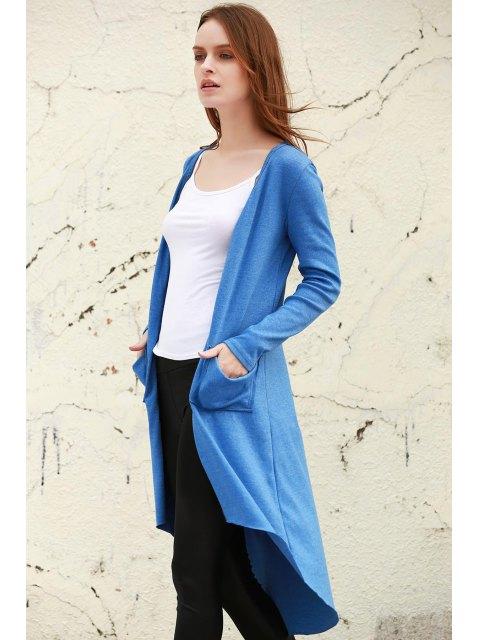 lady Blue V Neck Long Sleeve Cardigan - BLUE S Mobile
