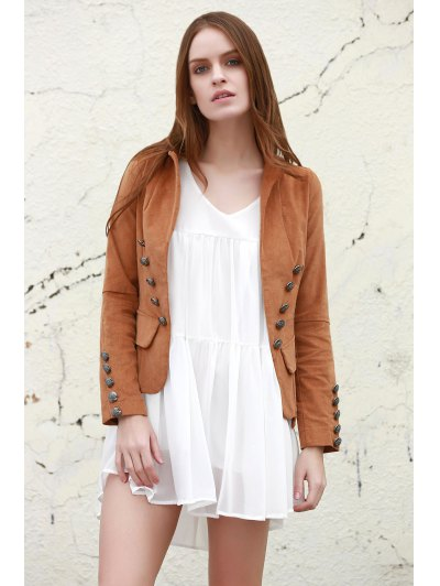Lapel Structured Washed Blazer - LIGHT COFFEE L Mobile