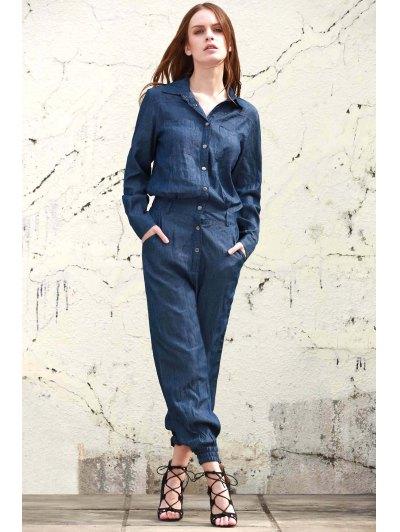 Denim Turn Down Collar Long Sleeve Jumpsuit - BLUE L Mobile