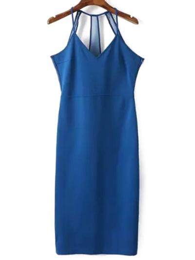 Spaghetti Strap Sleeveless Solid Color Sheath Dress