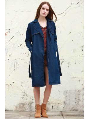 Denim Lapel Trench Coat - Deep Blue