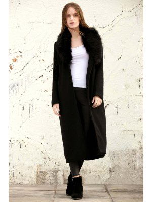Missguided Wool With Big Fur Collar Coat - Black