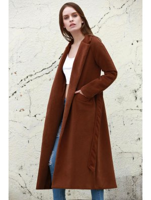 Lapel Solid Color Long Overcoat - Camel
