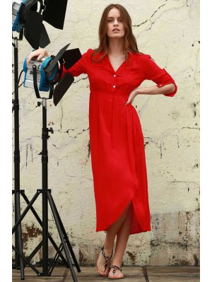 High Slit V Neck Long Sleeve Dress - Watermelon Red