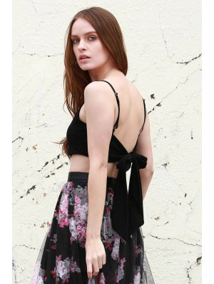Self Tie Cami Cropped Tank Top - Black
