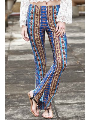 Border Print Bell Pants - Blue