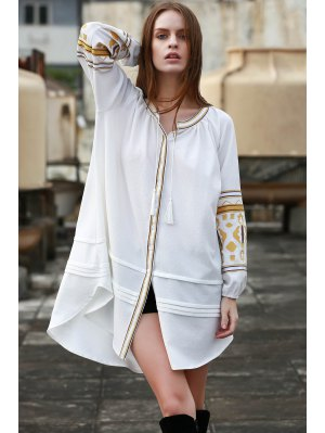 Embroidery Stand Neck Long Sleeve Dress - Off-white