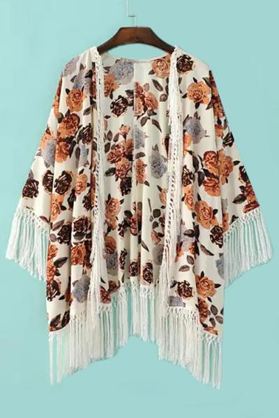 Collarless 3/4 Sleeve Fringe Floral Print Kimono Blouse